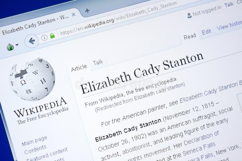 Рязань, Россия - 28-ое августа 2018: Страница Wikipedia о caddy Stanton Элизабета на дисплее ПК стоковая фотография