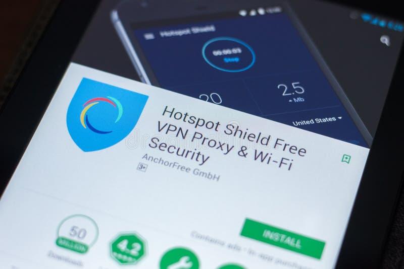 Рязань, Россия - 19-ое апреля 2018 - полномочие передвижной app Shiels свободное VPN Точки доступа на дисплее ПК таблетки стоковое изображение