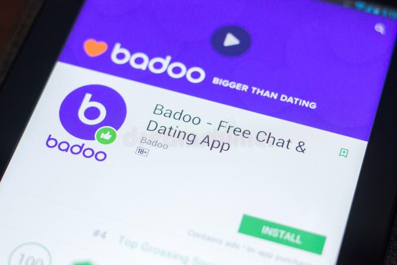 Рязань, Россия - 19-ое апреля 2018 - Badoo - освободите болтовню и датировать передвижной app на дисплее ПК таблетки стоковые изображения