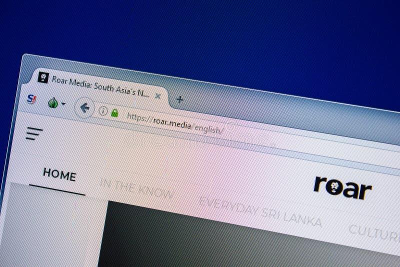 Рязань, Россия - 24-ое июля 2018: Домашняя страница вебсайта рыка на дисплее ПК Url - рык средства стоковые изображения rf