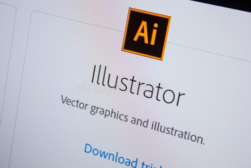 Рязань, Россия - 11-ое июля 2018: Иллюстратор Adobe, логотип программного обеспечения на официальном вебсайте Adobe стоковое изображение rf