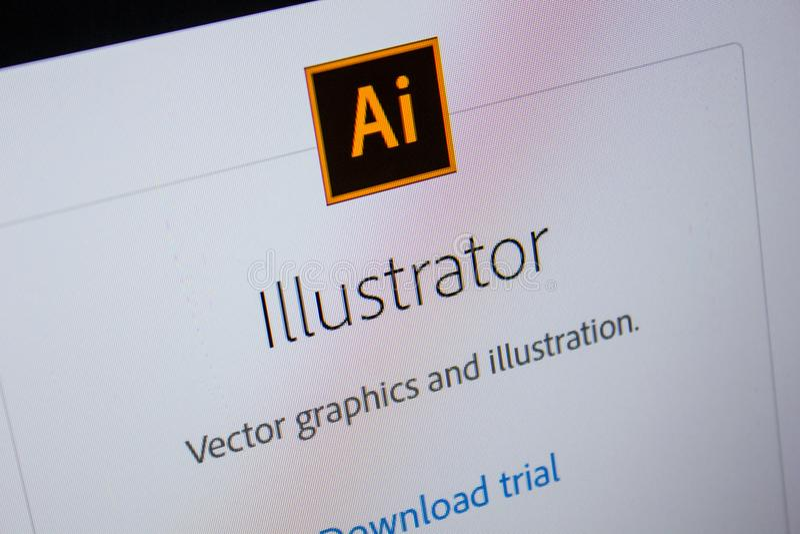 Рязань, Россия - 11-ое июля 2018: Иллюстратор Adobe, логотип программного обеспечения на официальном вебсайте Adobe стоковые изображения rf
