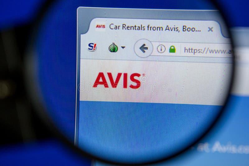Рязань, Россия - 11-ое июля 2018: Avis вебсайт com на дисплее ПК стоковые изображения
