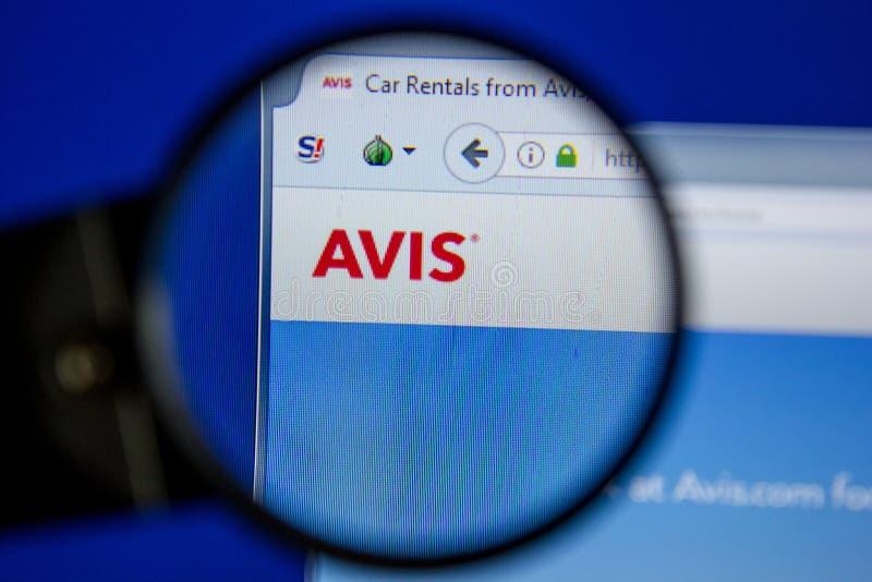 Рязань, Россия - 11-ое июля 2018: Avis вебсайт com на дисплее ПК стоковая фотография