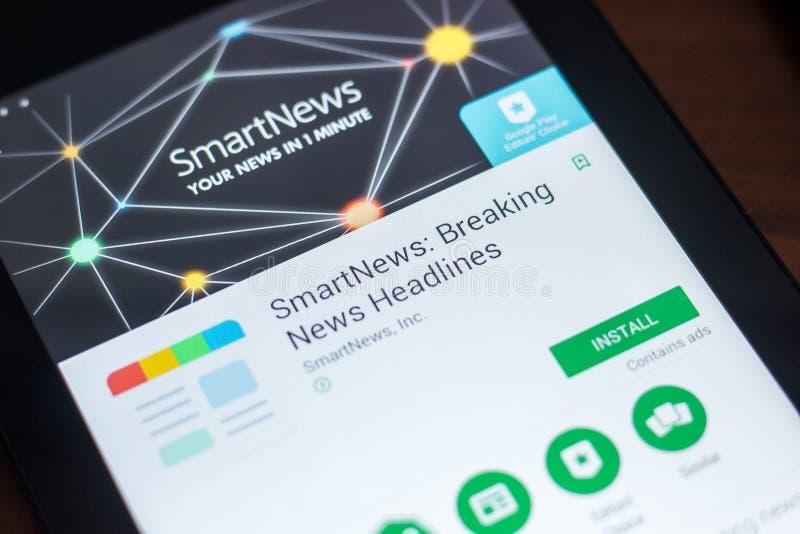 Рязань, Россия - 21-ое марта 2018 - SmartNews передвижной app на дисплее ПК таблетки стоковая фотография