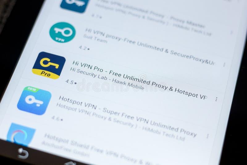 Рязань, Россия - 3-ье июля 2018: Высокое VPN - освободите неограниченное полномочие, значок Точки доступа VPN в списке передвижны стоковое фото