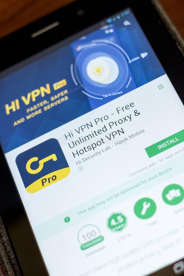 Рязань, Россия - 3-ье июля 2018: Высокое VPN - свободное неограниченное полномочие, Точка доступа VPN передвижной app на дисплее  стоковая фотография rf