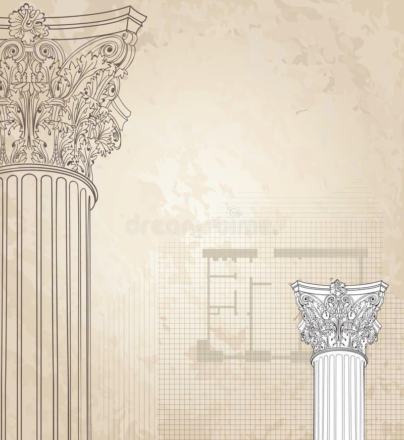 ряд изображения классицистических колонок предпосылки динамически высокий Римский коринфский столбец иллюстрация вектора