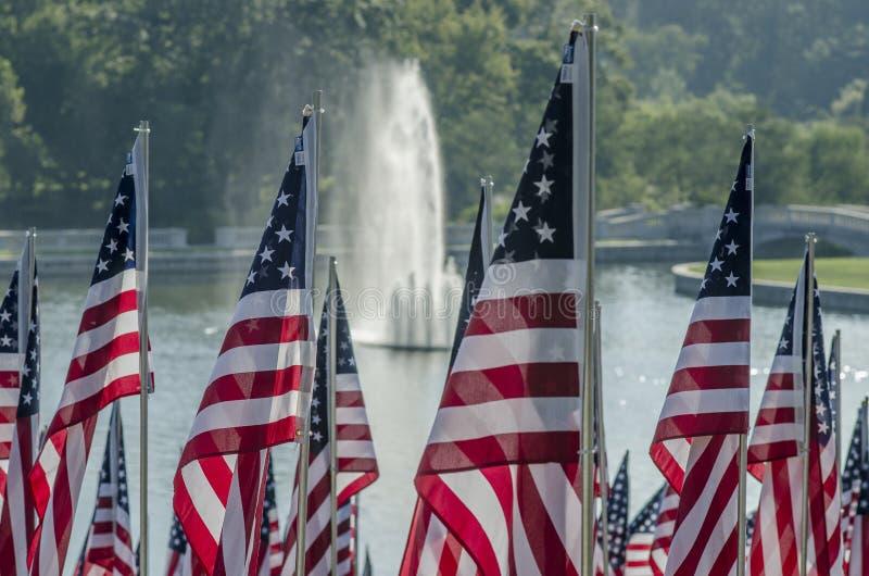 рядки американских флагов стоковое фото
