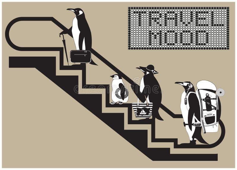 ?enguins na escada rolante ilustração stock