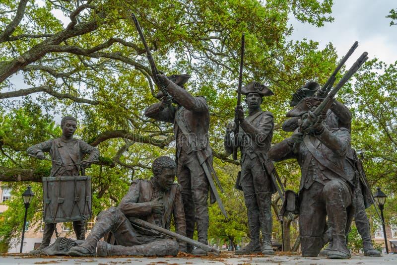 Саванна, осада мемориала саванны бронзового скульптором Джеймс Mastin стоковое фото rf