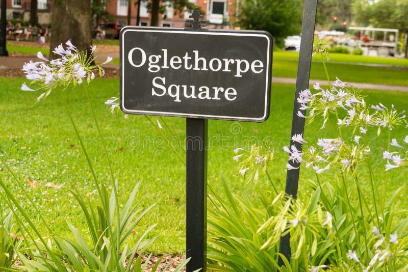 Саванна, Georgia/Соединенные Штаты - 25-ое июня 2018: Квадрат Oglethorpe было последним 6 квадратов положенных вне основателем, Д стоковая фотография