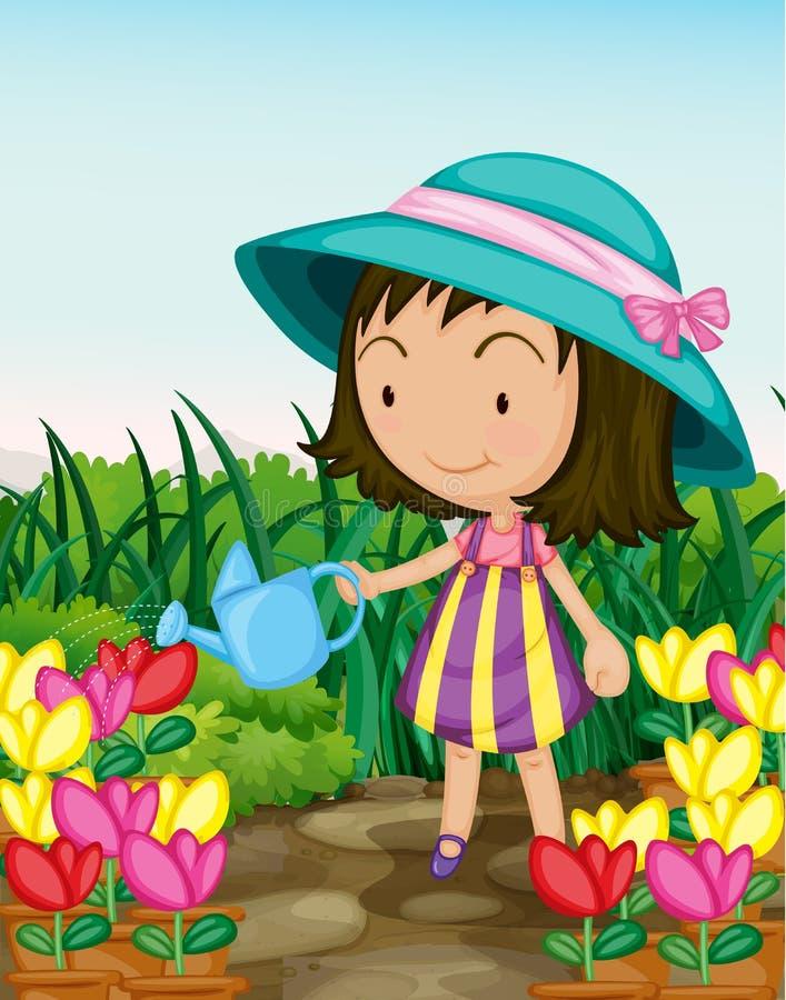 садовничая девушка иллюстрация штока