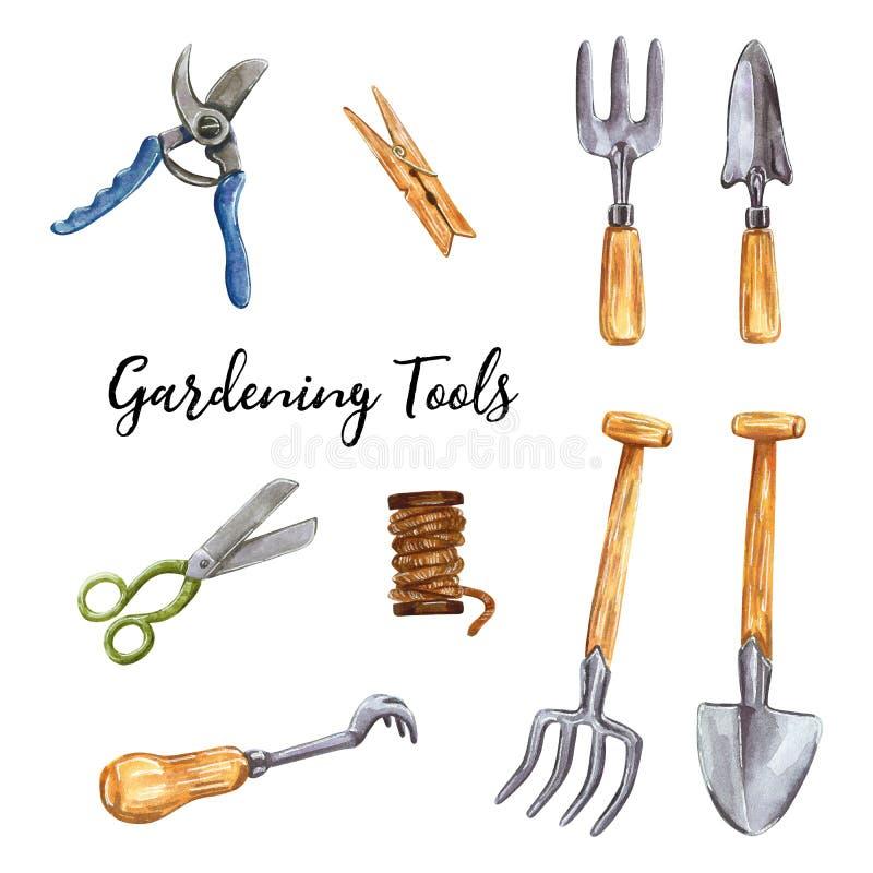 Садовничая инструмент, металлический лопаткоулавливатель, иллюстрация акварели руки вычерченная бесплатная иллюстрация