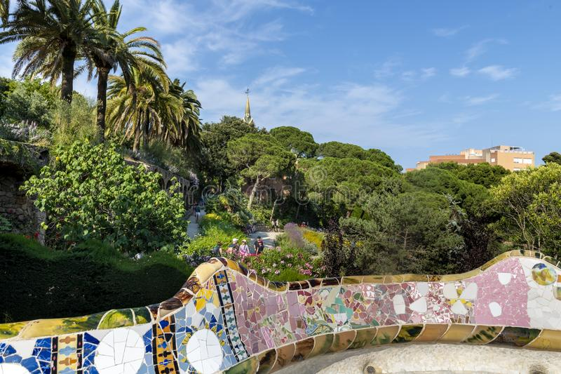Сады Австрии в Parc Guel, Барселоне стоковое фото rf