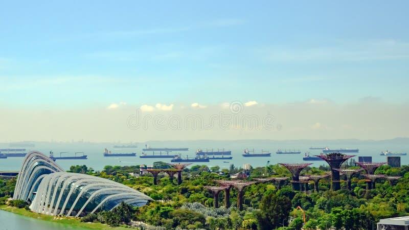 Сады заливом, зоной залива, Сингапуром, Азией Вид с воздуха парка с куполами и Supertrees стоковые изображения