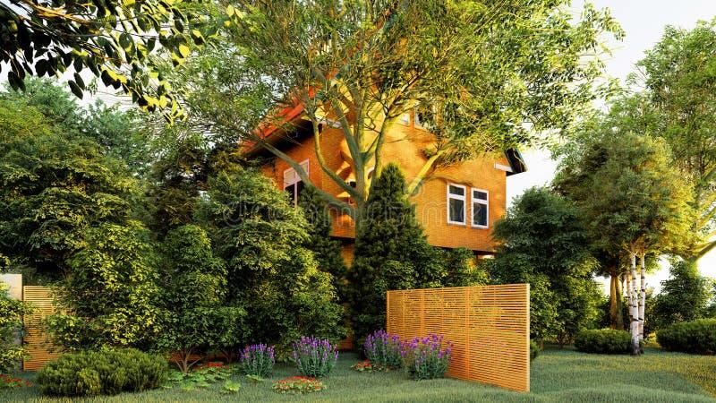 Сад английского перевода дома 3d иллюстрация штока