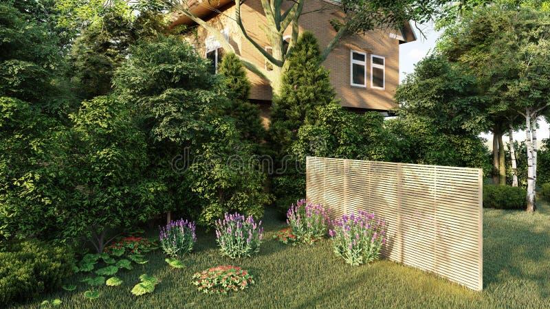 Сад английского перевода дома 3d иллюстрация вектора
