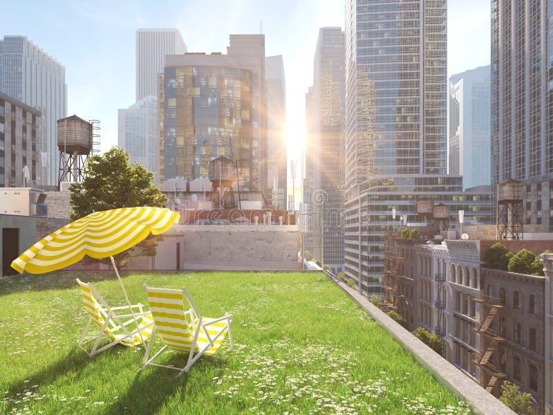 Сад в большом городе Живущая концепция перевод 3d стоковая фотография