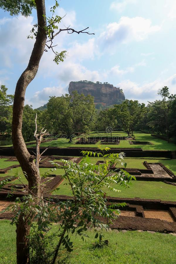 Сад перед утесом Sigiriya, Шри-Ланка вертикально стоковые фотографии rf