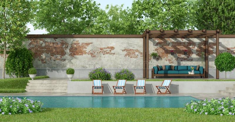 Сад с большим бассейном бесплатная иллюстрация