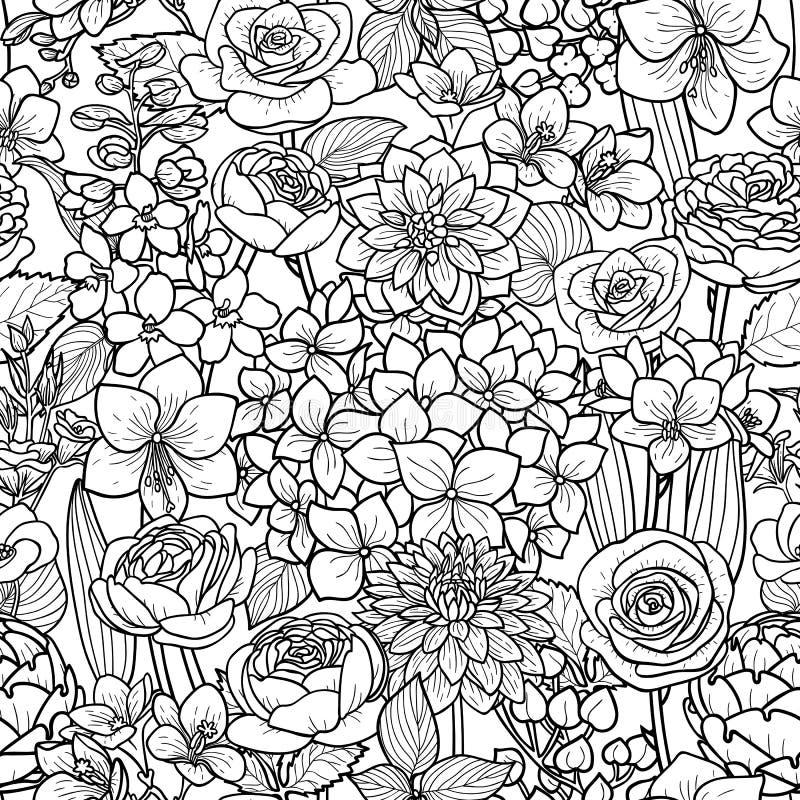 Сад цветет безшовная картина иллюстрация штока