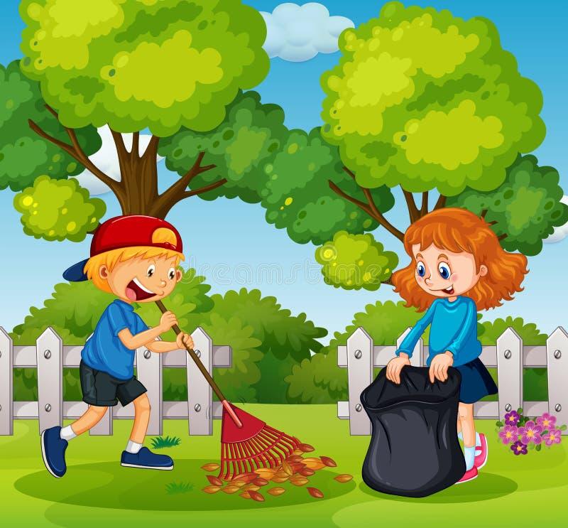 Сад чистки мальчика и девушки иллюстрация вектора