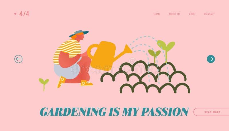 Сайт для садоводства и любительских садов, стартовая страница Счастливая женщина садоводит растения-водители от консервации иллюстрация штока