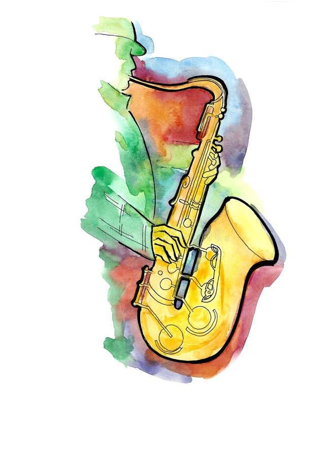 Саксофонист джаза иллюстрация вектора