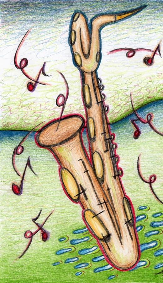 Саксофон баритона в зеленом ландшафте стоковые фотографии rf