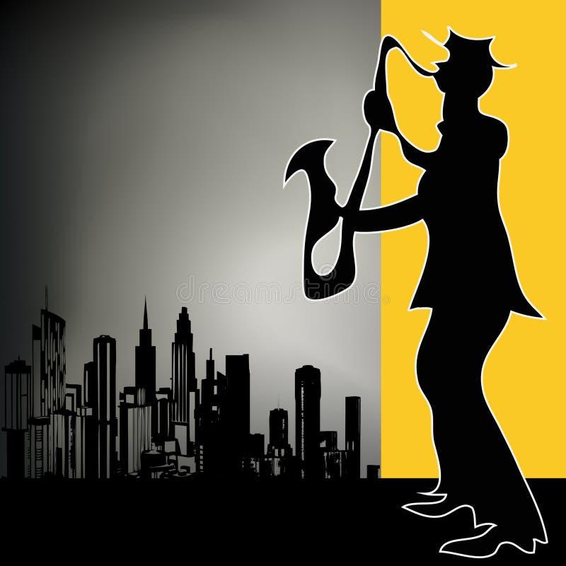 саксофон игрока города ретро бесплатная иллюстрация
