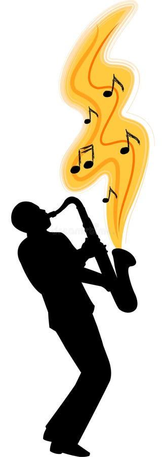 саксофон игрока ai иллюстрация вектора