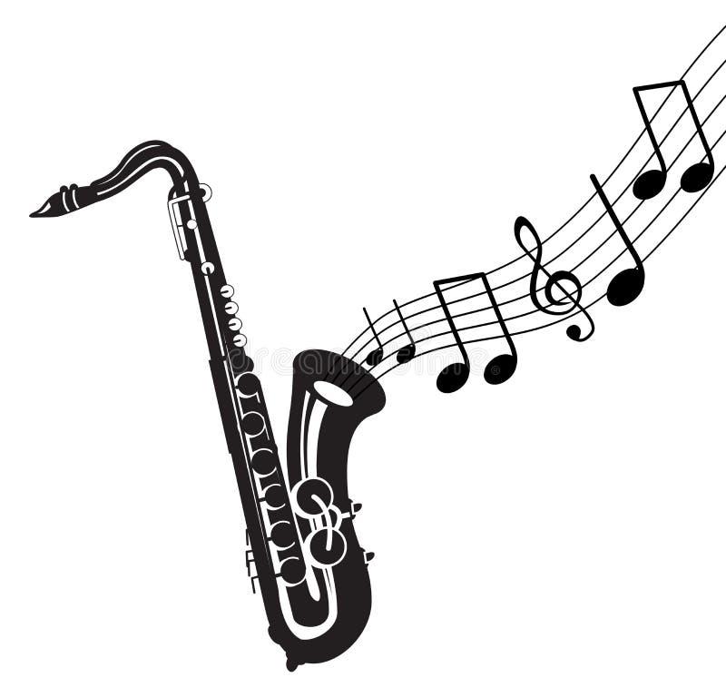 саксофон музыкальных примечаний бесплатная иллюстрация