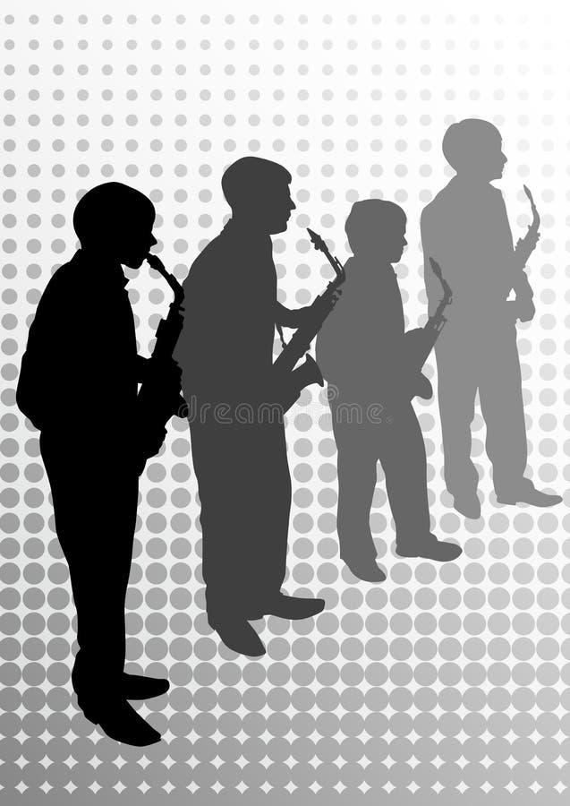 саксофон музыкантов иллюстрация вектора