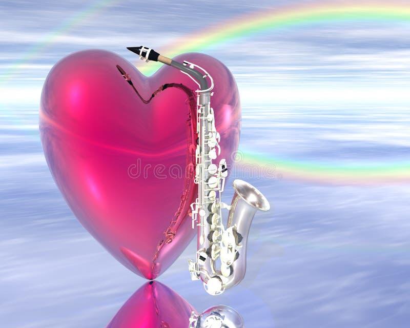 саксофон сердца иллюстрация штока