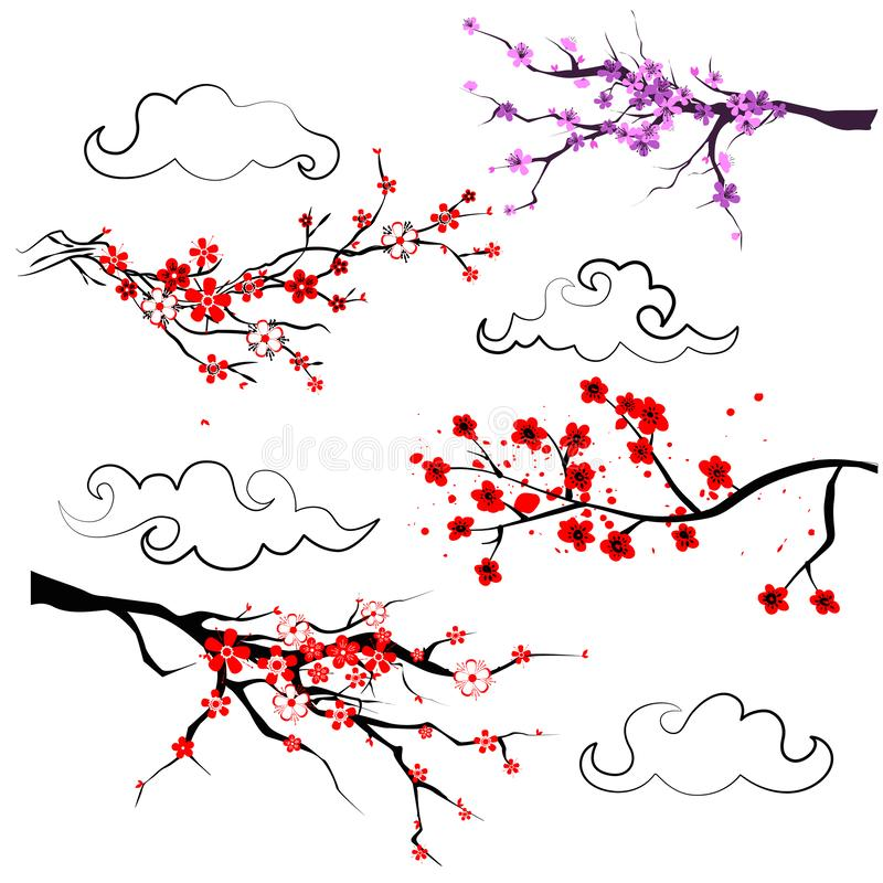 Сакура Установите ветви дерева весны реалистической зацветая с красным цветом иллюстрация штока