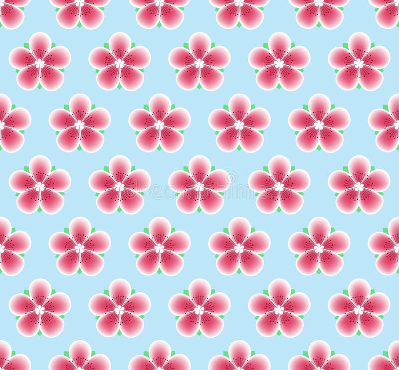 Сакура цветет безшовная картина смогите различная флористическая используемая текстура целей иллюстрации весна вишни цветения пре иллюстрация вектора