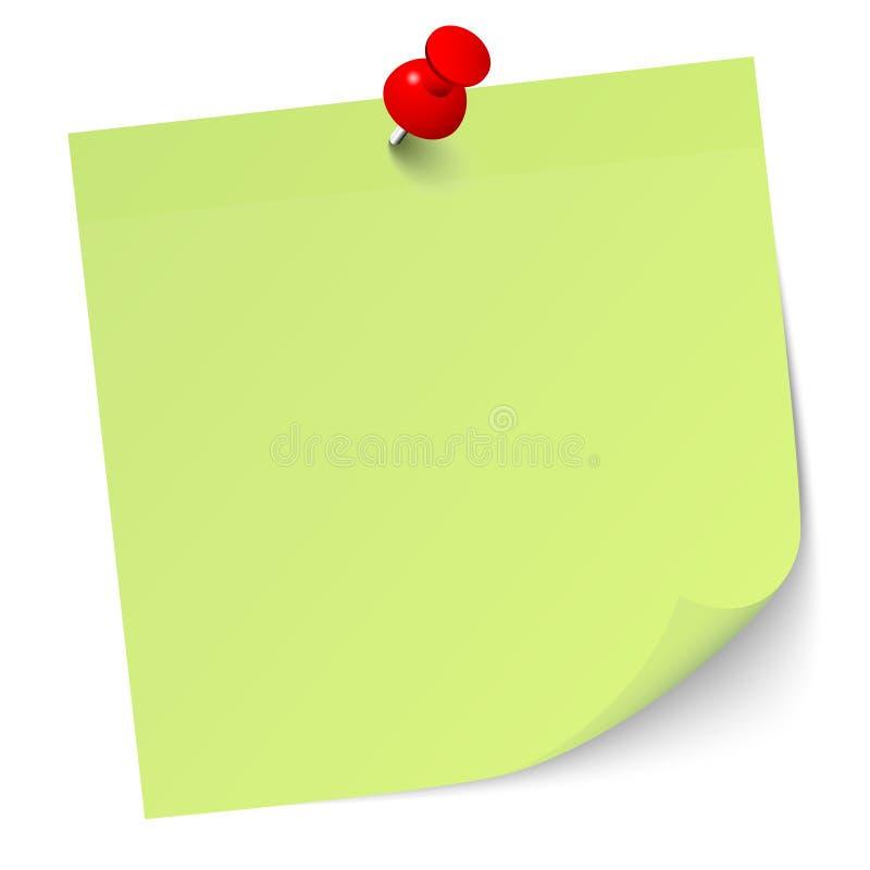 Салатовое липкое примечание с красным Pin иллюстрация вектора