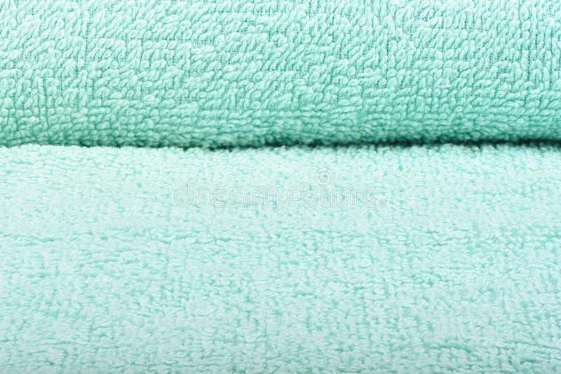 Салатовое полотенце Terry Текстура полотенец ткани стоковое изображение