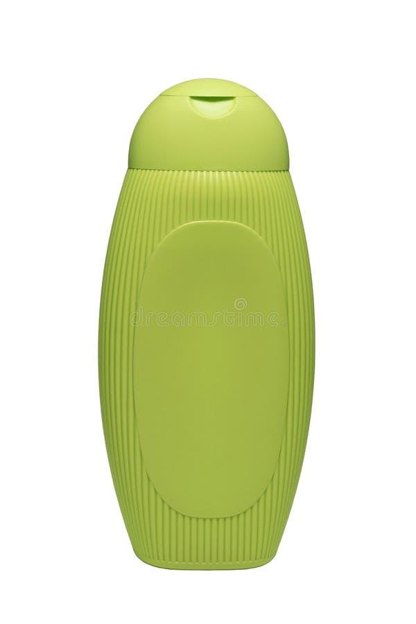 Салатовый пластиковый гель шампуня бутылки заботы тела изолированный на белой предпосылке стоковые изображения rf