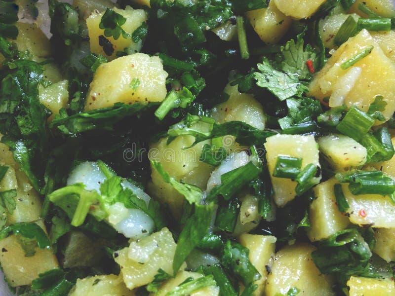 Салат кипеть картошек с луками и красным перцем стоковые фотографии rf