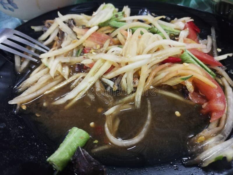 Салат папапайи с салатом краба стоковые изображения