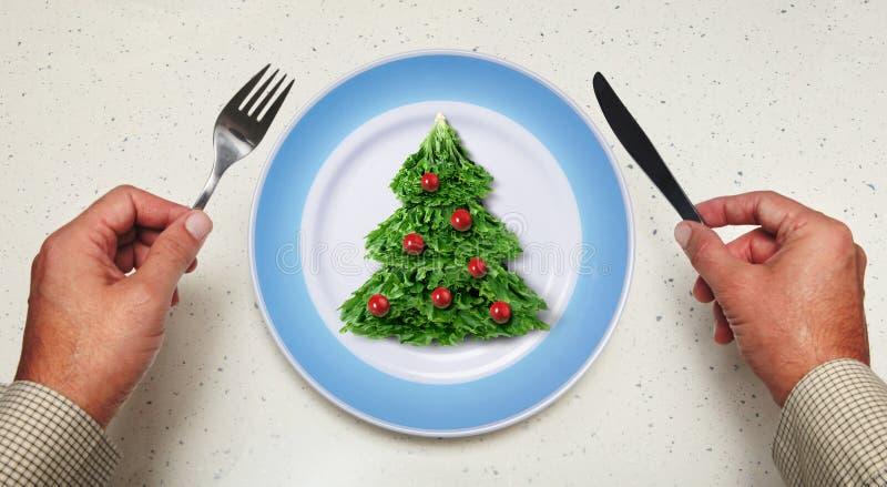 Салат праздника на плите стоковое изображение rf