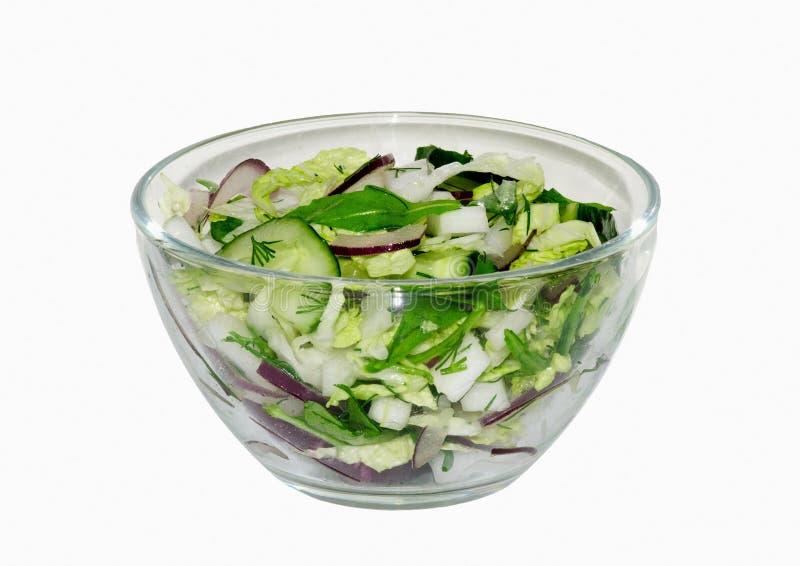 Салат свежего овоща: капуста, голубой лук, огурец, укроп, arugula, изолированное фото стоковое изображение
