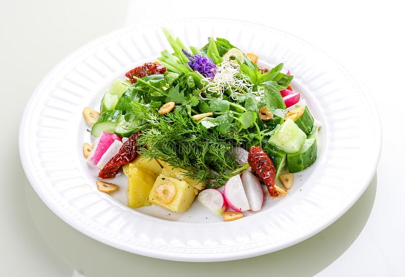 Салат с картошками, редиской и высушенными томатами стоковое изображение rf