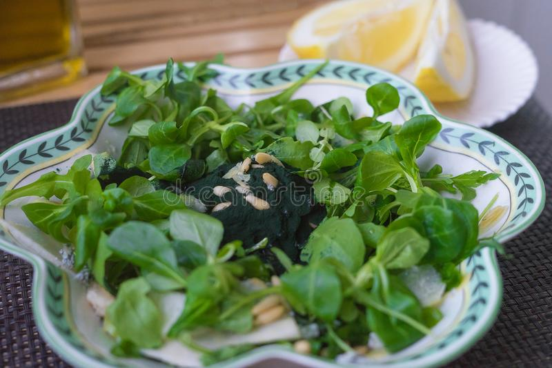 Салат с spirulina еда принципиальной схемы здоровая стоковое фото