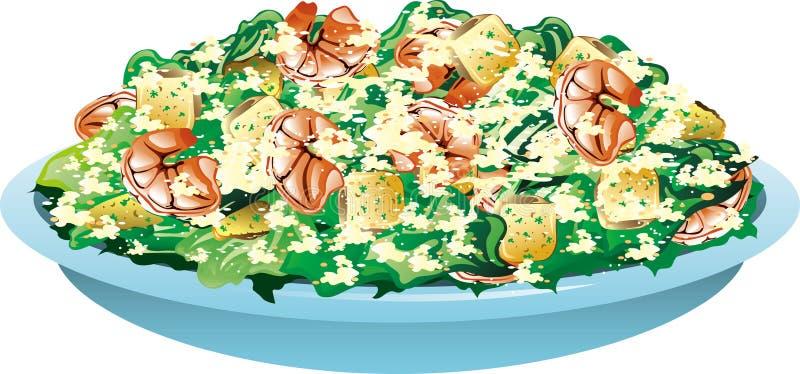 Салат цезаря креветки бесплатная иллюстрация