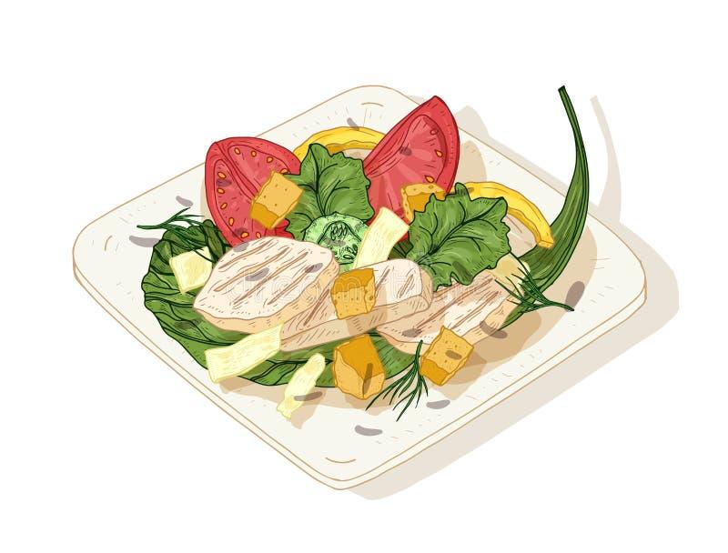 Салат цезаря на плите изолированной на белой предпосылке Очень вкусная еда ресторана сделанная цыпленка, листьев салата, свежих бесплатная иллюстрация