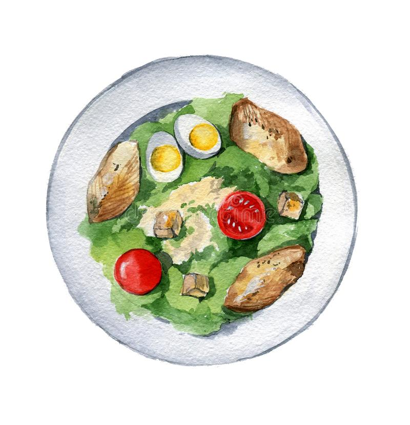 Салат цезаря с куриной грудкой, гренками, яичками и томатами дальше бесплатная иллюстрация