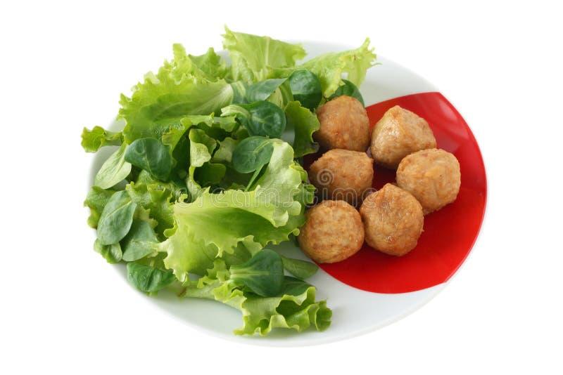 салат meatballs цыпленка стоковые изображения